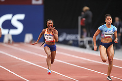 February 7, 2018 - Paris, Ile-de-France, France - From left to right :  Marie-Josée Ta Lou of Ivory Coast and Mujinga Kambudji of Switzerland compete in 60m during the Athletics Indoor Meeting of Paris 2018, at AccorHotels Arena (Bercy) in Paris, France on February 7, 2018. (Credit Image: © Michel Stoupak/NurPhoto via ZUMA Press)