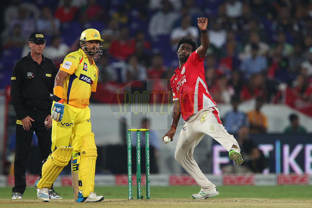 Parvinder AWANA  of the Kings XI Punjab  during the second semi final match of the Oppo Champions League Twenty20 between the Kings XI Punjab and the Chennai Superkings held at the Rajiv Gandhi Cricket Stadium, Hyderabad, India on the 2nd October 2014<br /> <br /> Photo by:  Ron Gaunt / Sportzpics/ CLT20<br /> <br /> <br /> Image use is subject to the terms and conditions as laid out by the BCCI/ CLT20.  The terms and conditions can be downloaded here:<br /> <br /> http://sportzpics.photoshelter.com/gallery/CLT20-Image-Terms-and-Conditions-2014/G0000IfNJn535VPU/C0000QhhKadWcjYs