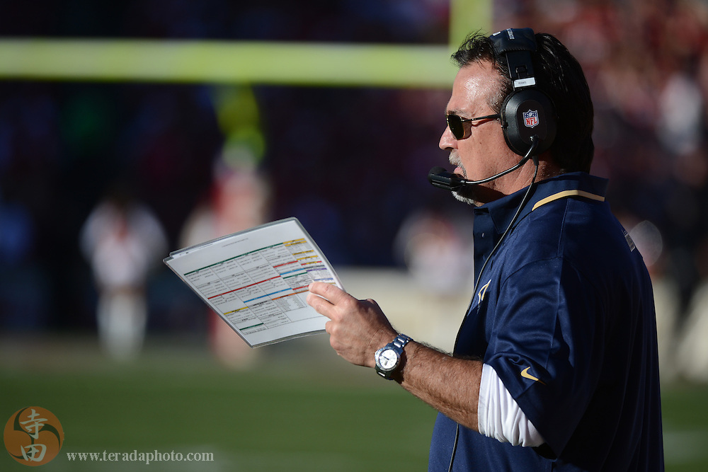 December 1, 2013; San Francisco, CA, USA; St. Louis Rams head coach Jeff Fisher looks on against the San Francisco 49ers during the third quarter at Candlestick Park. The 49ers defeated the Rams 23-13.
