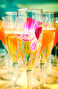 Champagne topped with rose petals makes for a beautiful presentation for wedding guests.