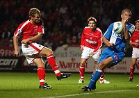 Photo. Daniel Hambury.<br />The Barclays Premiership.<br />Charlton Athletic V Blackburn Rovers. 27/09/2004.<br />Charlton Athletic's Jonathan Johansson's shot apears to hit the arm of Blackburn Rovers' Dominic Mateo
