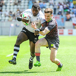 Asaeli Tuivuaka of Fiji runs to score a try during the match between Fiji and England at the HSBC Paris Sevens, stage of the Rugby Sevens World Series on June 1, 2019 in Angers, France. (Photo by Sandra Ruhaut/Icon Sport)
