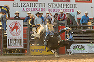 Chris Bechthold rides Summit Pro Rodeo's 277 Jungle Ape SM during the Xtreme Bulls event at the Elizabeth Stampede on Friday, June 1, 2018. Bechthold scored 68 points on the ride, but was offered a reride, which he took.