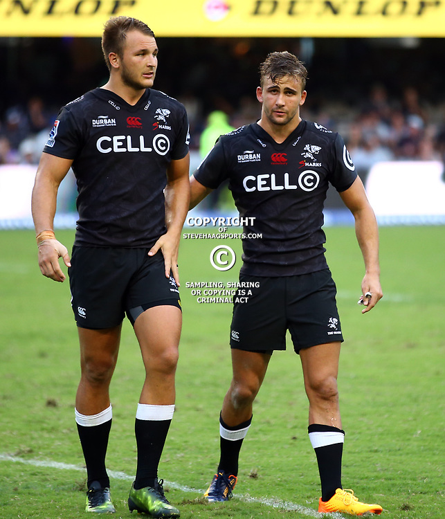 Andre Esterhuizen with Jeremy Ward of the Cell C Sharks during the Super Rugby match between the Cell C Sharks and the Jaguares  April 8th 2017 - at Growthpoint Kings Park,Durban South Africa Photo by (Steve Haag Sports)