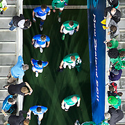 Players take to the field during the Ireland V Italy Pool C match during the IRB Rugby World Cup tournament. Otago Stadium, Dunedin, New Zealand, 2nd October 2011. Photo Tim Clayton...