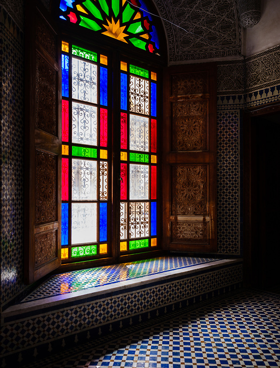 FEZ, MOROCCO - CIRCA APRIL 2017:  Tinted glass window in Morocco