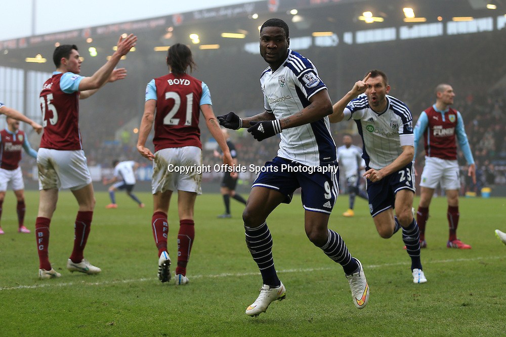 8th February 2015 - Barclays Premier League - Burnley v West Bromwich Albion - Brown Ideye of West Brom celebrates after scoring their 2nd goal - Photo: Simon Stacpoole / Offside.