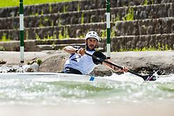 Blaz Cof during the Kayak Single (C1) Men race of Tacen Cup 2020 on May 24, 2020 in Tacen, Ljubljana, Slovenia. Photo By Grega Valancic / Sportida