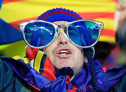 LONDON, ENGLAND - Tuesday, February 23, 2016: A Barcelona supporter wearing giant glasses during the UEFA Champions League Round of 16 1st Leg match against Arsenal at the Emirates Stadium. (Pic by Kirsten Holst/Propaganda)