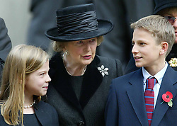 Lady Thatcher with her grandchildren Michael and Amanda at a memorial service for her husband Dennis in London in 2003.  Photo by: Stephen Lock / i-Images