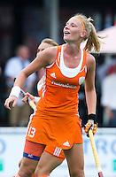 BOOM - Caia van Maasakker tijdens de eerste poule wedstrijd van Oranje tijdens het Europees Kampioenschap hockey   tussen de vrouwen Nederland en Ierland (6-0). ANP KOEN SUYK