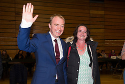 © Licensed to London News Pictures. 08/06/2017. Kendal UK. Picture shows Tim Farron & wife Rossie at the Kendal leisure centre as Tim Farron has held on to his constituency seat of Westmorland & Lonsdale. Photo credit: Andrew McCaren/LNP