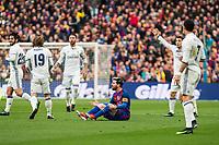 FC Barcelona's Leo Messi, and Real Madrid's Luka Modric, Cristiano Ronaldo, Sergio Ramos ,-16- during spanish La Liga match between Futbol Club Barcelona and Real Madrid  at Camp Nou Stadium in Barcelona , Spain. Decembe r03, 2016. (ALTERPHOTOS/Rodrigo Jimenez)