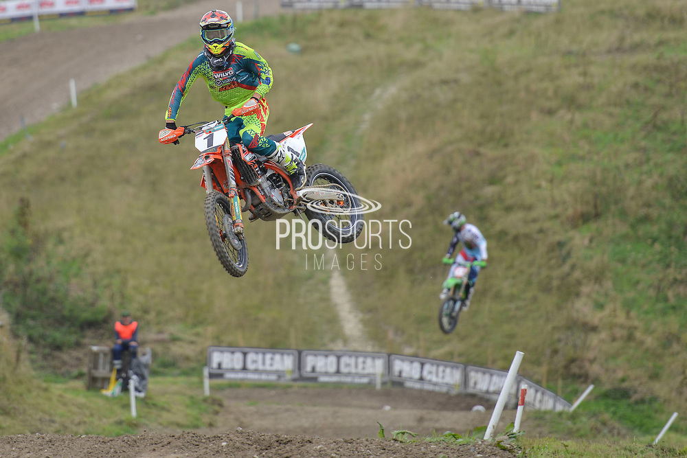 Shaun Simpson (1) of Wilvo Virus Performance KTM during round 8 of the Maxxis Acu British Motocross Championship at Foxhill Moto Park, Swindon, United Kingdom on 18 September 2016. Photo by Mark Davies.
