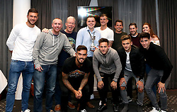 Winners of the Foundation Trust Quiz 'Team Comms' pose with Richard O'Donnell, Aden Flint, Marlon Pack, Josh Brownhill, Jamie Paterson and Callum O'Dowda of Bristol City and with the trophy - Mandatory by-line: Robbie Stephenson/JMP - 19/09/2016 - FOOTBALL - Ashton Gate - Bristol, England - Bristol City Community Trust Quiz