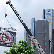 Red Bull Air Race video screen with GM Renaissance Center in the background.
