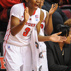 Rutgers Scarlet Knights guard Erica Wheeler (3) applauds her teammates' efforts during second half NCAA Women's Basketball action between the Rutgers Scarlet Knights and Seton Hall Pirates at the Louis Brown Athletic Center. Rutgers defeated Seton Hall 62-39.