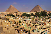 Pyramids and cemetery at Giza, outside Cairo, Egypt