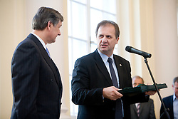 Danilo Turk and Ivan Simic at Slovenian National Football team at reception at president of Slovenia dr. Danilo Turk, on November 19, 2009, in President palace,  Ljubljana, Slovenia. Slovenia won 1:0 and qualified for the FIFA World Championships 2010. (Photo by Vid Ponikvar / Sportida)