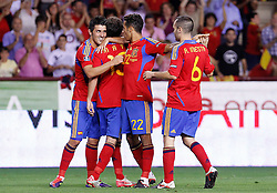 06.09.2011, Logrono, ESP, UEFA EURO 2012, Qualifikation, Spanien vs Lichtenstein, im Bild Spain's David Villa, Juan Manuel Mata, Thiago Alcantara and Andres Iniesta celebrates goal during Euro 2012 qualifier match.September 6,2011.. EXPA Pictures © 2011, PhotoCredit: EXPA/ Alterphoto/ Acero +++++ ATTENTION - OUT OF SPAIN/(ESP) +++++