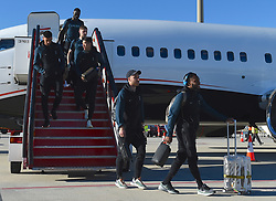 MADRID, SPAIN - Wednesday, May 29, 2019: Tottenham Hotspur's players arrive at the Adolfo Suarez Madrid-Barajas Airport ahead of the UEFA Champions League Final between Tottenham Hotspur FC and Liverpool FC. Christian Eriksen, Danny Rose. (Pic by Denis Doyle/UEFA)