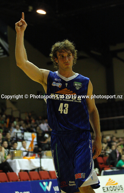 Saints forward Casey Frank celebrates a 59-53 halftime lead.<br /> NBL - Wellington Saints v Harbour Heat at TSB Bank Arena, Wellington. Thursday, 29 April 2010. Photo: Dave Lintott/PHOTOSPORT