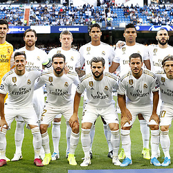 (Top Row L-R) Real Madrid goalkeeper Thibaut Courtois, Sergio Ramos of Real Madrid, Toni Kroos of Real Madrid, Raphael Varane of Real Madrid, Casemiro of Real Madrid, Karim Benzema of Real Madrid..(Front row L-R) Lucas Vazquez of Real Madrid, Daniel Carvajal of Real Madrid, Nacho of Real Madrid, Eden Hazard of Real Madrid, Luka Modric of Real Madrid during the UEFA Champions League group A match between Real Madrid and Club Brugge at the Santiago Bernabeu stadium on October 01, 2019 in Madrid, Spain .Photo by Icon Sport - Stade Santiago-Bernabeu - Madrid (Espagne)