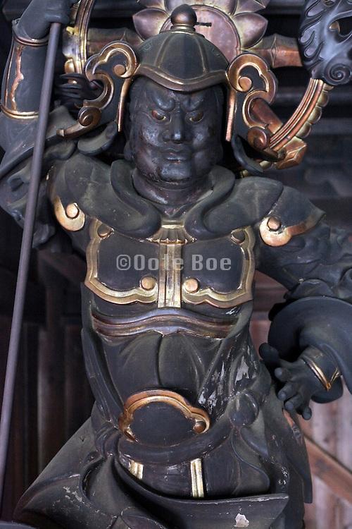 warrior statuette inside the Sugimotodera  Temple Kamakura Japan