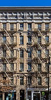 NEW YORK CITY- MARCH 26, 2018 : Fire exit staircase building Soho streets one of the main Manhattan Landmarks