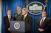 President Bill Clinton makes a statement on the Kosovo peace agreement and thanks NATO and US Forces for their efforts as Defense Secretary William Cohen (L) and Joint Chief of Staff General Hugh Shelton and National Security Advisor Sandy Berger look on in the White House briefing room June 10, 1999 in Washington, DC.