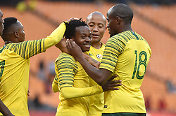 South Africa: Johannesburg: Bafana Bafana player Percy Tau celebrates with teams mates after scoring a goal against Seychelles during the Africa Cup Of Nations qualifiers at FNB stadium, Gauteng.<br />