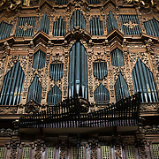 MEXICO CITY, MEXICO --One of the two pipe organs in the Metropolitan Cathedral. The cathedral houses two of the largest 18th century pipe organs in the Americas. Built in stages from 1573 to 1813, the Mexico City Metropolitan Cathedral is the largest Roman Catholic cathedral in the Americas. It sits in the heart of the historic quarter of Mexico City along one side of the the Zocalo.