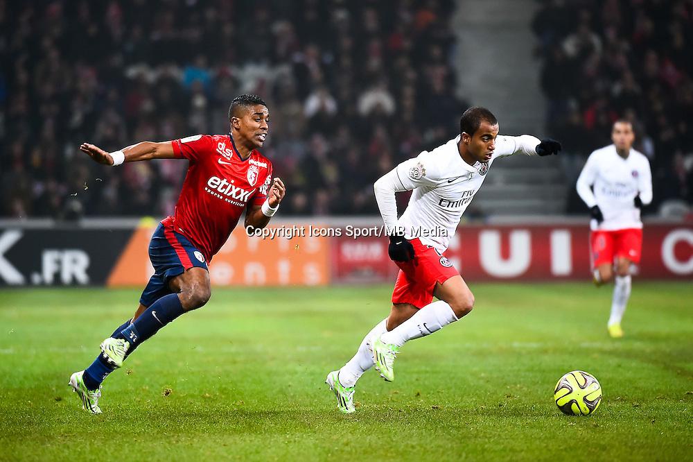 Franck BERIA / Lucas MOURA - 03.12.2014 - Lille / Paris Saint Germain - 16eme journee de Ligue 1 -<br />Photo : Fred Porcu / Icon Sport