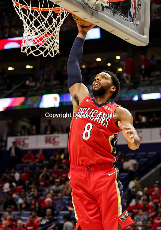 Oct 19, 2018; New Orleans, LA, USA; New Orleans Pelicans center Jahlil Okafor (8) dunks against the Sacramento Kings during the second half at the Smoothie King Center. The Pelicans defeated the Kings 149-129. Mandatory Credit: Derick E. Hingle-USA TODAY Sports