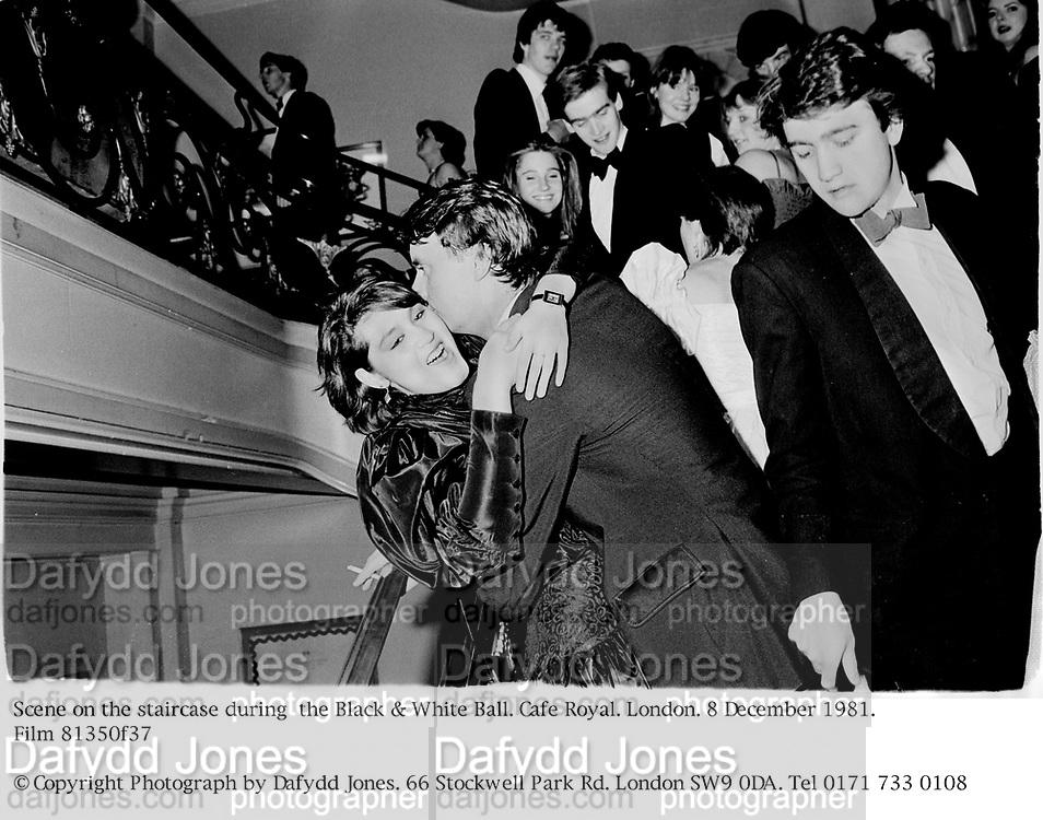 Scene on the staircase during  the Black & White Ball. Cafe Royal. London. 8 December 1981. Film 81350f37<br />© Copyright Photograph by Dafydd Jones. 66 Stockwell Park Rd. London SW9 0DA. Tel 0171 733 0108