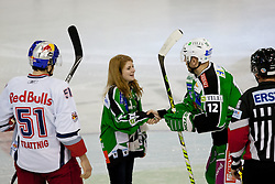 First face-off during ice-hockey match between HDD Tilia Olimpija and EC Red Bull Salzburg in 48th Round of EBEL league, on January 29, 2012 at Hala Tivoli, Ljubljana, Slovenia. (Photo By Matic Klansek Velej / Sportida)