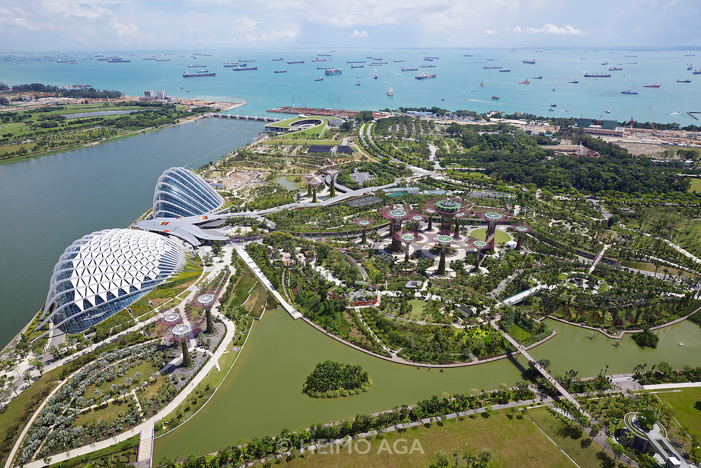 Singapore. Marina Bay Sands. View over Gardens by the Bay with its supertrees.