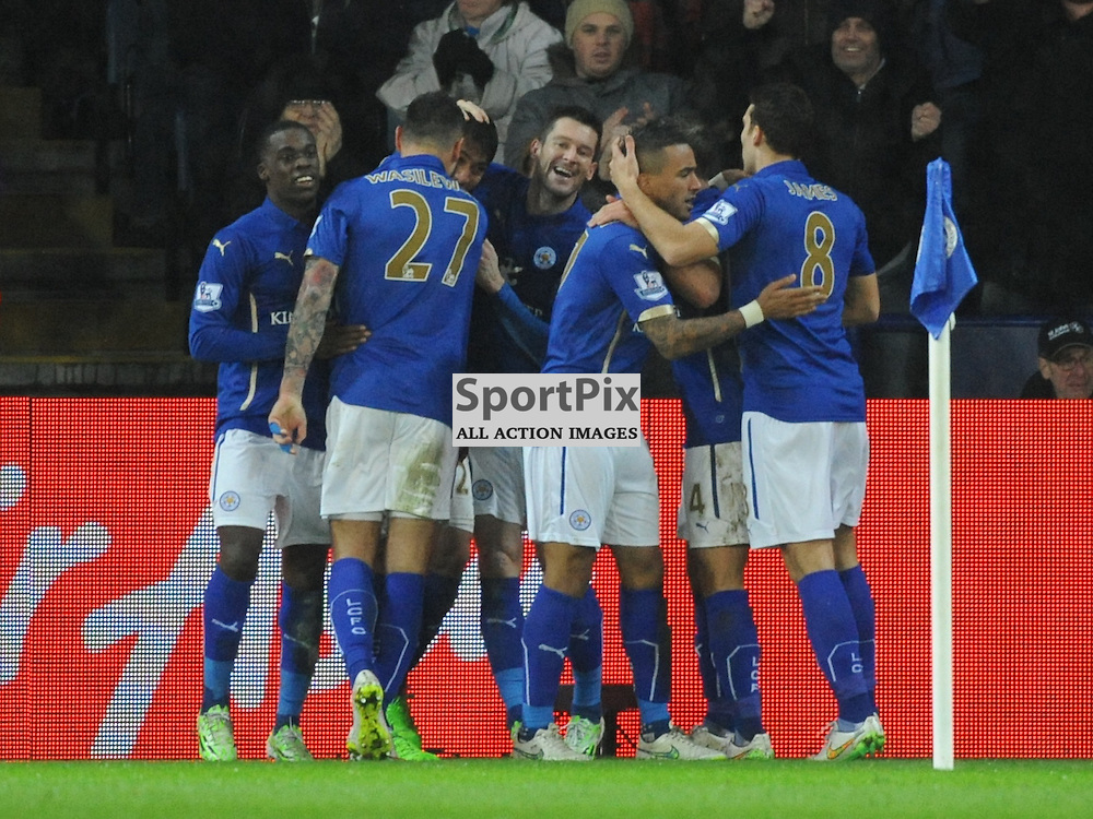 Leicester Celebrate Their Equaliser, Leicester City v Tottenham Hotspur, Premier League, King Power Stadium, Friday, Boxing Day, 26th December 2014