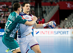 Aliaksandr Padshyvalau of Belarus vs Nemanja Zelenovic of Serbia during handball match between National teams of Serbia and Belarus on Day 7 in Main Round of Men's EHF EURO 2018, on January 24, 2018 in Arena Zagreb, Zagreb, Croatia.  Photo by Vid Ponikvar / Sportida