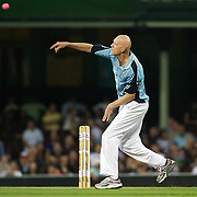 Peter Garrett bowling during Australia's Big Bash Cricket match to raise money for the Victorian Bushfire Appeal at the Sydney Cricket Ground, Sydney, Australia on February 22, 2009. The match was attended by over 20,000 spectators.  Photo Tim Clayton