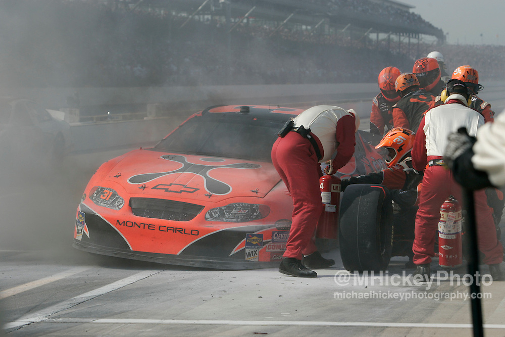 After running in the top five for much of the day, Robbie Gordon's hope for winning the Brickyard 400 was extenguished when a blown tire caught fire causing damage to the car
