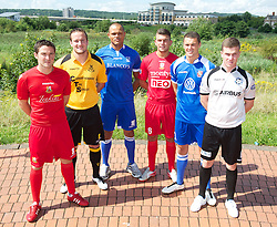 CARDIFF, WALES - Tuesday, August 14, 2012: Welsh Premier League clubs with Macron kit at the launch the 2012/2013 Welsh Premier League at the St. David's Hotel. L-R: Antonio Corbisiero (Llanelli AFC), .Paul Fowler (Carmarthen Town), Cortez Belle (Port Talbot Town), Shane Sutton (Newtown AFC), Lee Idzi (Bangor City), Tom Field (Airbus UK). (Pic by David Rawcliffe/Propaganda)