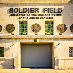 Soldier Field stadium sign vertical photo. Soldier Field is home to the Chicago Bears NFL football team. Copyright ⓒ 2015 Paul Velgos with All Rights Reserved.