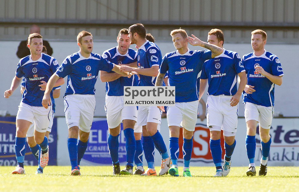 Stranraer v Dunfermline Athletic SPFL League One Stair Park 30 August 2014<br /> Willie Gibson winds up his former team, DAFC, fans by celebrating infront of them<br /> <br /> CRAIG BROWN | sportPix.org.uk