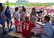 Swiss soccer player Xherdan SHAQIRI of FC Bayern Muenchen does autographs during a training session for kids at the Coca-Cola Junior League tournament in Zurich, Switzerland, Saturday, June 16, 2012. (Photo by Patrick B. Kraemer / MAGICPBK)