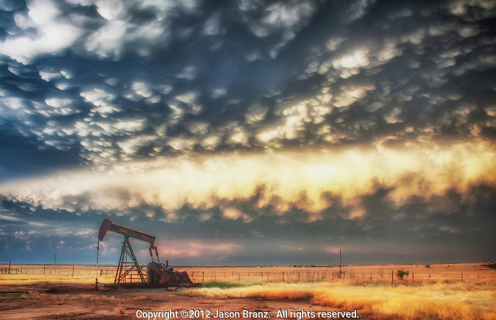 Mammatus at sunset over the oil fields of North Texas.