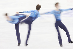 A multiple exposure picture of Misha Ge of Uzbekistan performing during the Men free skating program at the ISU World Figure Skating Championships at Shanghai Oriental Sports Center in Shanghai, China, 28 March 2015.