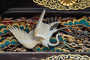 Ornate bird carving. Nijo Castle (Nijo-jo) was built in 1603 as the Kyoto residence of Tokugawa Ieyasu, the first shogun of the Edo Period (1603-1867). His grandson Iemitsu completed the castle's palace buildings 23 years later and further expanded the castle by adding a five-story castle keep. After the Tokugawa Shogunate fell in 1867, Nijo Castle was used as an imperial palace for a while before being donated to the city and opened to the public as a historic site. Its palace buildings are some of the best surviving examples of castle palace architecture of Japan's feudal era, and the castle was designated a UNESCO world heritage site in 1994.