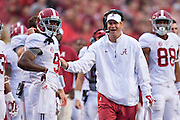 FAYETTEVILLE, AR - OCTOBER 11:  Offensive Coordinator Lane Kiffin talks with Amari Cooper #9 of the Alabama Crimson Tide on the sidelines during a game against the Arkansas Razorbacks at Razorback Stadium on October 11, 2014 in Fayetteville, Arkansas.  The Crimson Tide defeated the Razorbacks 14-13.  (Photo by Wesley Hitt/Getty Images) *** Local Caption *** Lane Kiffin; Amari Cooper
