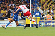 Rotherham United midfielder Matt Crooks (17) shoots at goal during the EFL Sky Bet League 1 match between AFC Wimbledon and Rotherham United at the Cherry Red Records Stadium, Kingston, England on 3 August 2019.